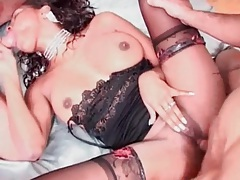Interracial anal threesome with black girl tubes