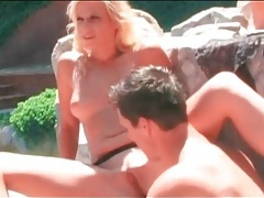 Sunny day blowjob from blonde by the pool tubes