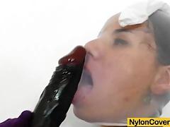 Riding a dildo in pantyhose tubes