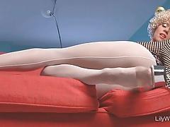 Sexy milf legs in seamed white pantyhose tubes