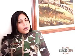Latina in lipstick strips in a hotel room tubes