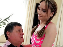 Skinny leyla black sucks old man dick tubes