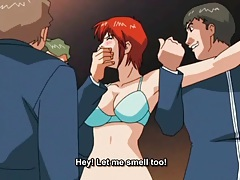 Two guys spit roast anime redhead lustily tubes