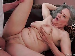 Grey haired grandma rides his hard dick tubes