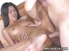Tantalizing asian hottie enjoys two big dongs tubes