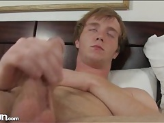 Cute masturbating redhead fingers his hairy asshole tubes