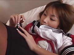 Sweet japanese schoolgirl fingered lustily tubes