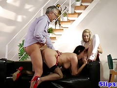 Classy babes threeway with old man tubes
