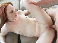 Redhead audrey splashed with cum tubes