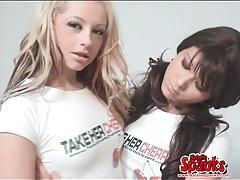 Lesbian schoolgirls with perky tits fool around tubes