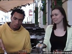 Black guy seduces a coffee shop cutie for sex tubes
