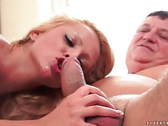 Old man rimmed out by a slutty blonde tubes