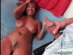 Cocksucking milf gags on his dick in bj tubes