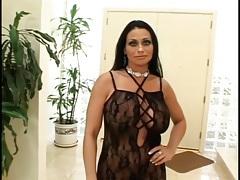 Huge boobs milf in black lingerie sucks dick tubes