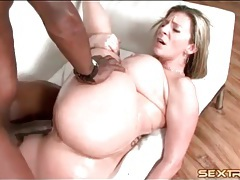 Oiled up milf slut sara stone fucked by bbc tubes