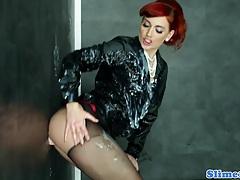 Kety pearl showered in bukkake tubes