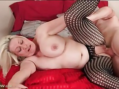 Chubby blonde mature sucks his dick and gets fucked tubes