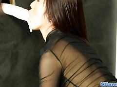 Asian marcia hase at the gloryhole tubes