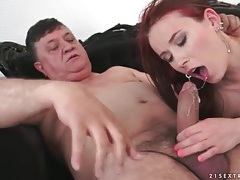 Grandpa fucks gorgeous redhead and cums tubes