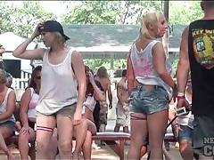 Wet tee shirt contest girls flash their tits tubes