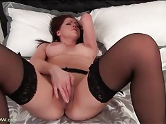 Solo redhead with perky titties masturbates lustily tubes