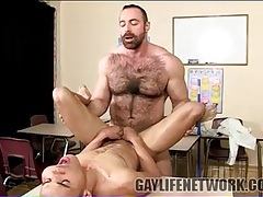 Thick and hairy bear teacher fucks twink student tubes