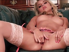 Pink stockings and lingerie on blonde chloe toy tubes