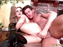 Kinky black latex boots on flexible girl fucking tubes