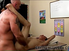 Horny teacher plants his cock in tight twink ass tubes