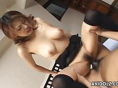 Big breasted asian babe riding hard dick tubes