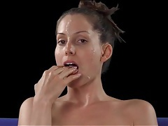 Lelu love plays with the cumshot dripping off her face tubes