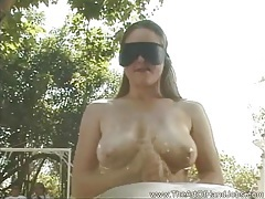 Handjob wearing a blindfold tubes