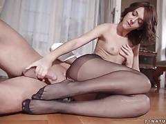 Lusty cock riding with girl in ripped black pantyhose tubes