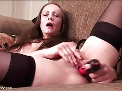 Black stockings are beautiful on masturbating milf tubes