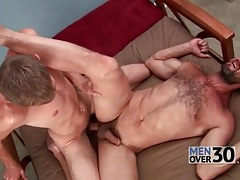 Burly bottom gets fucked and cums hard tubes