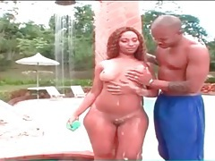Big ass girl takes a sensual shower outdoors tubes