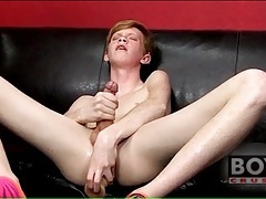Teen twink redhead fucks big toy into his ass tubes