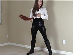 Lelu love models skintight black leather pants tubes