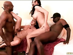 White ladies fucked by big black cock in foursome tubes