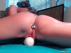Little toy up the asshole of skinny masturbating chick tubes