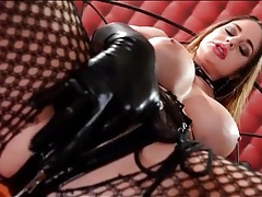 Kinky cathy heaven masturbates in latex gloves tubes