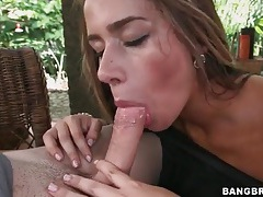 Cock riding hottie with stunning big ass tubes