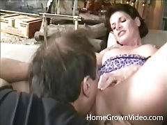 Milf with amazing perky tits licked by her man tubes