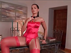 Shiny satin lingerie is sexy on eve angel tubes