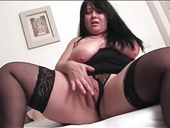 Bbw mature in black stockings masturbates vagina tubes