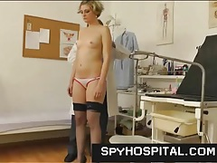 Girl keeps her stockings on for doctor exam tubes