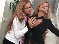Lesbians in skirts and stockings fool around tubes