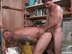 Bear bent over in the garage and ass fucked tubes