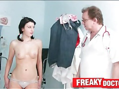 Teen strips for her gyno exam tubes