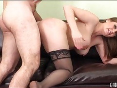 Old dude fucks curvy girl in black stockings tubes
